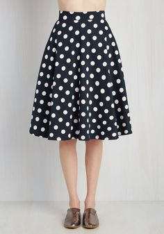 Bugle Boogie Skirt in Navy Dots. You hear your friends truck horn outside your window - your trumpet call to dance this A-line skirt out the door and hop in! #blue #modcloth