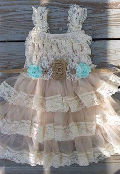 Lace Flower Girl Dress-Mint Flower Girl-Champagne Flower Girl-Country Flower Girl-Burlap Sash-Mint Wedding-Country Chic Flower Girl-Wedding by CountryCoutureCo on Etsy https://www.etsy.com/listing/190968607/lace-flower-girl-dress-mint-flower-girl