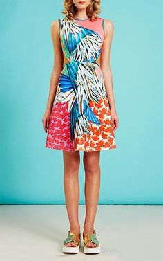 Shop Carnival Printed Neoprene Cut-Out Dress. Known for their vibrant prints and bold aesthetic, Los Angeles-based **Clover Canyon** brings a fresh perspective to feminine dressing. Clover Canyon, Feminine Dress, Spring Summer Fashion, Carnival, Vibrant, Dressing, Summer Dresses, Printed, Shopping