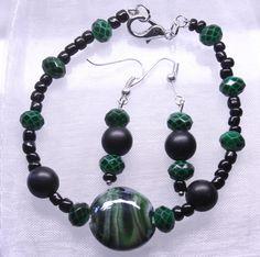 Set grün, Glasperlen, Kunststoffperlen, nickelfrei