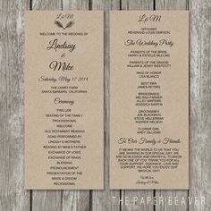 Printable Wedding Program - DIY Rustic Kraft Wedding Welcome Program - Double Sided Burlap Paper Program Template - WP02