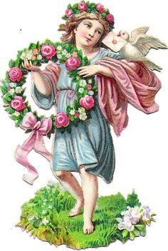 Oblaten Glanzbild scrap die cut chromo Blumen Kind flower child Taube dove pigeo