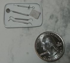 Doll miniature handcrafted Medical Dental tool tray instrument 1/12th scale