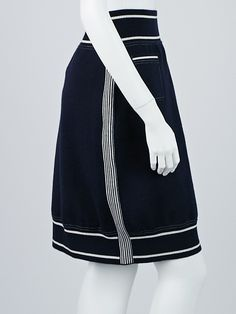 Chanel Navy Blue Cotton Stretch Airplane Skirt Size 8/42