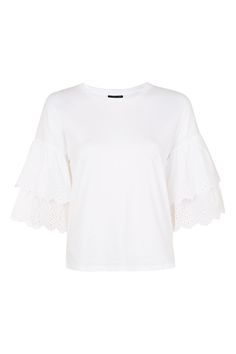 The summer top of dreams, this pretty t-shirt in white comes with layered broderie sleeves for a statement feel. Were styling with bootleg jeans for bohemian-cool. Trendy Colors, Topshop, Ruffle Blouse, Crop Tops, Clothes For Women, My Style, Tees, Sleeves, Mens Tops