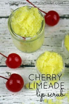 Use this cherry limeade lip scrub to get soft, kissable lips naturally. Get the easy DIY recipe today at Sparkles of Sunshine. Use this cherry limeade lip scrub to get soft, kissable lips naturally. Get the easy DIY recipe today at Sparkles of Sunshine. Zucker Schrubben Diy, Lip Scrub Homemade, Leave In, Diy Body Scrub, Bath Scrub, Sugar Scrub Recipe, Kissable Lips, Soft Lips, Homemade Beauty Products