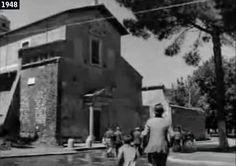 """""""Ladri di biciclette"""" (Vittorio De Sica, 1948) ~ Il vecchietto sospettato di aver rubato la bicicletta si rifugia nella Chiesa dei Santi Nereo e Achilleo, in Viale delle Terme di Caracalla."""