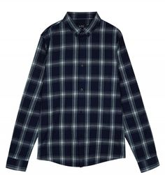 Button-Down Shirt in Dark Navy Blue. A simple casual shirt from A. in plaid Italian cotton canvas with a sporty button-down collar. Button Down Collar, Button Down Shirt, Dark Navy Blue, Apc, Check Shirt, Cotton Canvas, Casual Shirts, Men Casual, Sporty