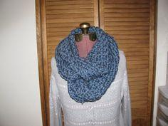 Chunky denim blue infinty cowl scarf by DELIASDESIGNS on Etsy, $20.00