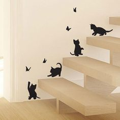 Tired of seeing plain, boring walls? These four black cats playing with a butterflies make a great quick fix on a boring wall, cabinets or even stair cases. A great wall decor in nursery rooms, cabinets or toddler's room. Material: PVC