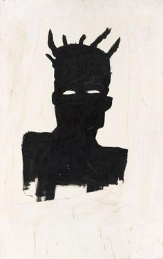 daisyparris: Self Portrait (Plaid) 1983Jean-Michel Basquiat  j'aime particulièrement cet autoportrait car il est en noir et blanc donc on sait pas vraiment comment il est physiquement #greg