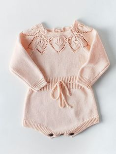 Newborn Baby Girls Cute Knit Strap Romper Leaves Pattern Jumpsuit Bodysuit – Knitting For Beginners Baby Girls, Baby Girl Romper, Baby Girl Newborn, Baby Bodysuit, Baby Baby, Knitted Romper, Lace Romper, Long Sleeve Romper, Romper Outfit