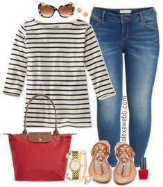 Plus Size Striped Boatneck Tee Outfit - Plus Size Outfit Idea - Plus Size Fashion for Women #alexawebb #plussize