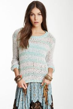 FREE PEOPLE PROVENCE STRIPED SWEATER M $118 Cloud Combo Open Knit Pullover Top #FreePeople #Pullover #Any