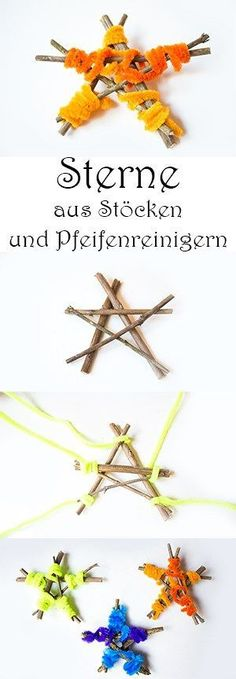 Basteln mit Kindern im Herbst : 8 Ideen mit Naturmaterialien — Mama Kreativ Crafts in autumn with children from natural materials – stars from sticks and pipe cleaners Fall Crafts For Kids, Diy Crafts For Kids, Fun Crafts, Children Crafts, Pine Cone Christmas Tree, Diy Christmas Ornaments, Simple Christmas, Deco Nature, Easy Fall Crafts