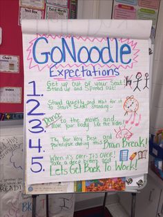 An anchor chart with GoNoodle expectations to manage students during this short free time/brain break. Doing GoNoodle can be done as a whole group. First Grade Classroom, Kindergarten Classroom, School Classroom, Future Classroom, Classroom Routines, Classroom Procedures, Classroom Organization, Classroom Ideas, Classroom Behavior Management