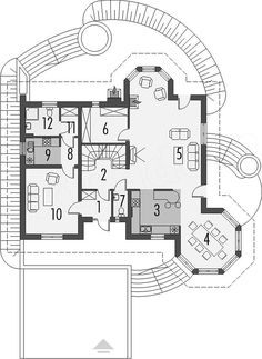 Rzut parteru projektu Tulipan G2 Modern Bungalow House, House With Porch, Small House Plans, Small Houses, Home Fashion, Outdoor Living, Floor Plans, Architecture, House Styles