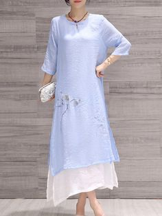 Shop Midi Dresses - Light Blue Floral Elegant Linen Midi Dress online. Discover unique designers fashion at StyleWe.com.