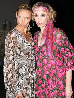 Why the pouty faces? Maybe model Heidi Klum is giving Jane Lynch – who plays Miss Hannigan in the Broadway revival of Annie – a lesson in the perfect pout backstage in New York City.  http://www.people.com/people/gallery/0,,20711793,00.html#21350485