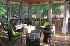 drop cloth curtains for screened porch