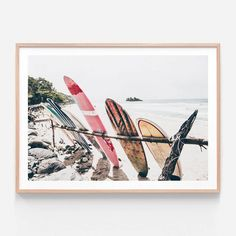 Boards On The Beach is a photography wall art print of surfboard resting on the sand. Available as a poster or framed prints in 8 sizes from 41 Orchard. Perfect for the modern beach themed or coastal interior, shipping Australia wide from 41 Orchard. Canvas Frame, Canvas Wall Art, Wall Art Prints, Poster Prints, Canvas Prints, Art Posters, Coastal Wall Art, Beach Wall Art, Framed Prints Online