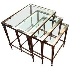 Set of Three Brass Nesting Tables   1stdibs.com