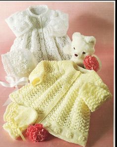 Baby knitting pattern for matinee coats/jackets 16 through to 20 inch chest sizes. Uses 3ply and/or 4 ply (laceweight)baby yarn  One set in 3 ply and