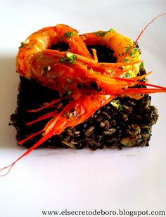 Black rice with cuttlefish and prawns