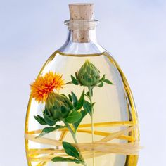 Safflower is one of the oldest crops which is known to mankind and the oil produced from its seeds are of two varieties. One that contains linoleic acid and is Holistic Remedies, Natural Health Remedies, Home Remedies, Health And Nutrition, Health And Wellness, Health Foods, Cla Safflower Oil, Cooking Oil