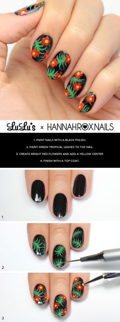 Mani Monday: Black Tropical Print Nail Tutorial at LuLus.com!