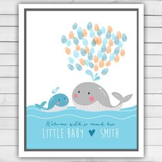 Printable Baby shower guestbook Whale by Anietillustration on Etsy