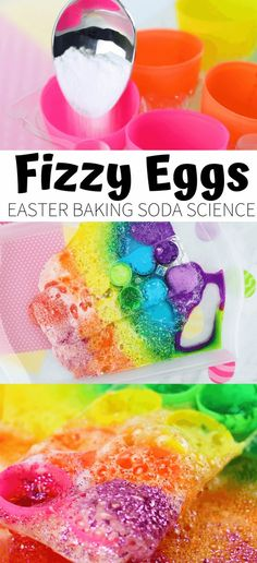 Easy Easter baking soda and vinegar science activity! Enjoy a fun chemical reaction with these fizzy rainbow Easter Eggs for cool science. Science Activities For Toddlers, Preschool Themes, Preschool Science, Sensory Activities, Infant Activities, Life Science, Baking Soda Experiments, Science Experiments, Baking Soda Vinegar