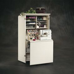 Sauder Harbor View Craft Armoire - Sewing Furniture at Hay need to find a diy for this! Craft Armoire, Craft Cabinet, Sewing Cabinet, Craft Room Storage, Closet Storage, Wooden Cabinets, Storage Cabinets, White Armoire, Fold Out Table
