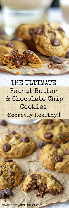 These PB & chocolate chips cookies are to die for and they are good for you too!!
