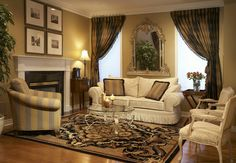 Modern middle eastern decor. Living area with draping, Persian/oriental rug