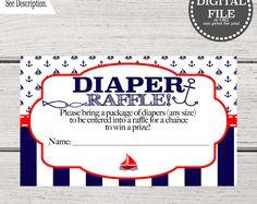 Baby Shower Invitation Boy Diaper Raffle | Nautical Baby Shower | Ahoy It's a Boy Invitation | Diaper Raffle Nautical Printable