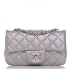 CHANEL Metallic Lambskin Quilted Extra Mini Rectangular Flap Silver ❤ liked on Polyvore featuring bags, handbags, shoulder bags, quilted cross body purse, silver metallic handbags, crossbody purses, chanel handbags and mini crossbody purse