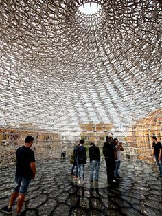 """milan-expo-2015-most-impressive-national-pavilions - United Kingdom Theme: """"Grown in Britain: Shared Globally"""" Design: At the end of a meadow of wildflowers is a massive steel sphere that resembles a beehive. The idea is to emphasize the importance of bees, which is enhanced by a recording of music mixed with real beehive sounds. Concept: Raise awareness of the impact food has on everyone's lives by showing innovations being made at every stage of the food chain.   ... http://scotfin.com…"""