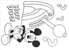 Mickey Mouse With Baseball Bat Coloring Book Page