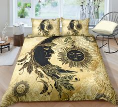 Background 3d, Golden Background, Bed Covers, Pillow Covers, Moon Dreamcatcher, Blanket Cover, Bed Sets, Linen Bedding, 3d Bedding