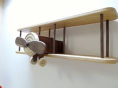 Solid Wood Airplane Shelf/Wooden Wall Biplane by Fullofwoodcrafts