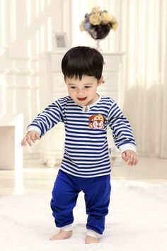 2015 Cotton Spring Autumn Newborn Baby Clothing Set Fall Character Unisex Bebes Girl Boy Sets Striped Infant Suits 2Pcs Long Tops+Pants Factory Direct Clothing Baby Suits China Brand Infant Garment Baby Set Suits
