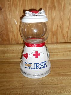 Nurse Candy Jar Nurse Candy Jar by Sissyskrafts on Etsy Clay Pot Projects, Clay Pot Crafts, Diy Clay, Crafts To Make, Fun Crafts, Craft Projects, Shell Crafts, Tree Crafts, Clay Flower Pots