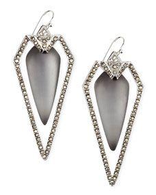 Pave Arrow Drop Earrings, Gray