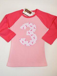 Mini unicorn raglan 3rd or 4th birthday shirt!