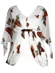 Womens Fashion Walla Walla Wholesale Chiffon Metal Mock Belt Top Pack Of 6 Piece    #fashionwholesaler   #top  #butterfly #womensfashion