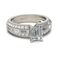 Art Deco Emerald Cut Created White Sapphire Rhodium Plating Sterling Silver Women's Engagement Ring