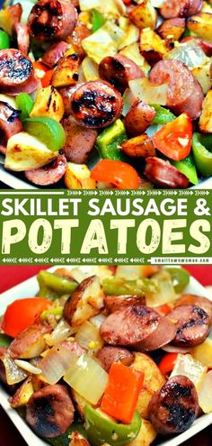 An easy recipe for busy families! This Skillet Sausage and Potatoes is quick to pull together. Full of wholesome ingredients and lightly seasoned, this healthy one-pan meal is perfect on weeknights. It can't get any simpler or more delicious than this! Save this pin! Veggie Skillet Recipe, Easy Skillet Meals, Easy One Pot Meals, Easy Family Meals, Skillet Cooking, Skillet Recipes, Easy Dinners, Family Recipes, Sausage And Potatoes Skillet