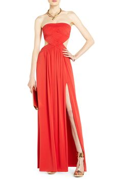 BCBG be still my beating heart cutouts AND long mermaid skirt Red Evening  Gowns 2aa2c0f2fdc2