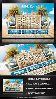 #Beach Party #Flyer - Clubs & Parties #Events Download here:  https://graphicriver.net/item/beach-party-flyer/7815859?ref=alena994